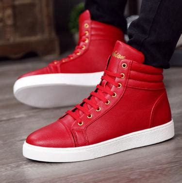 new fashion high top casual shoes for pu leather lace
