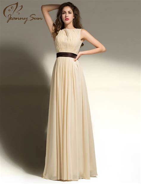 design dress long new simple design prom dress with brown sash scoop