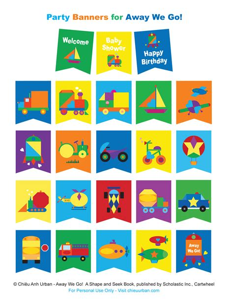 printable shapes for banners away we go transportation party printables coloring
