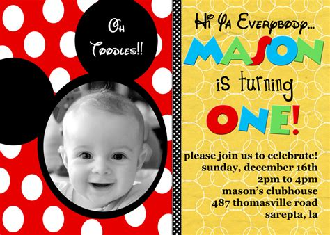 Mickey Mouse Photo Invitations Personalized Mickey Mouse Invitations Templates Free Personalized Birthday Invitation Templates