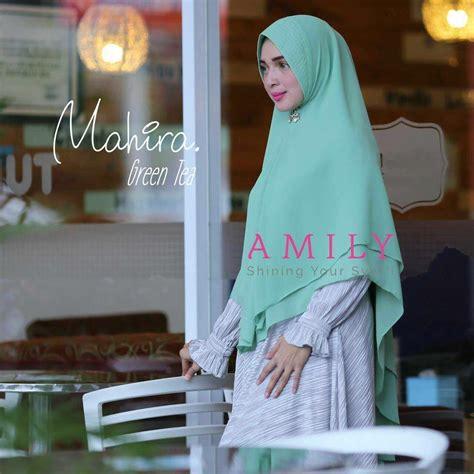 amily mahira khimar green tea hijab kerudung khimar