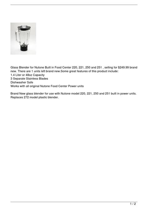 Glass Blender for Nutone Built in Food Center 220, by