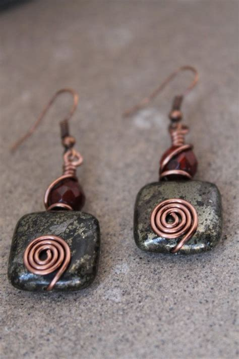 Handcrafted Earrings - wire wrapped jewelry handmade rustic earrings antique