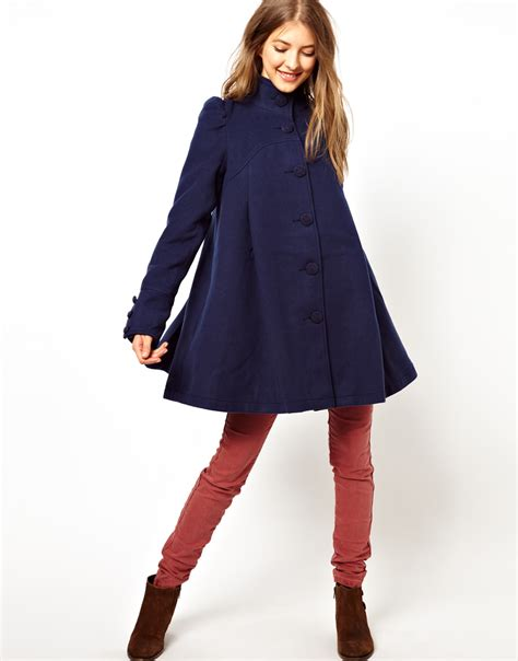 pleated swing coat free people pleated swing coat in blue lyst