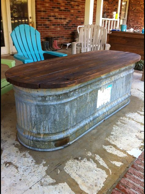 water trough turned   table house ideas