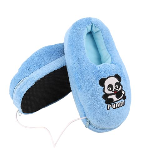 electric heated slippers heated plush usb foot warmer shoes soft