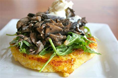 warm mushroom salad with crispy polenta recipe on food52