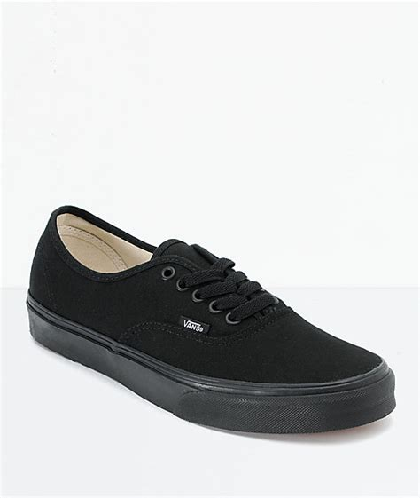 all black shoes for vans authentic lace up all black shoes at zumiez pdp