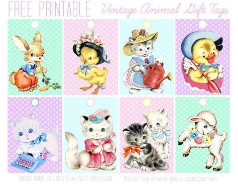 vintage printable animal free printable gift tags animals birthday party pinterest