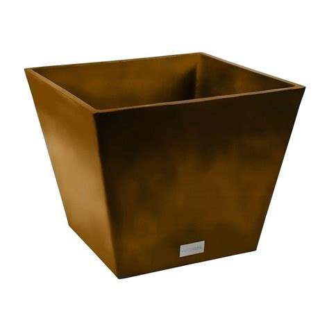 Square Plastic Planter by Veradek Nobleton 16 In Square Bronze Plastic Planter