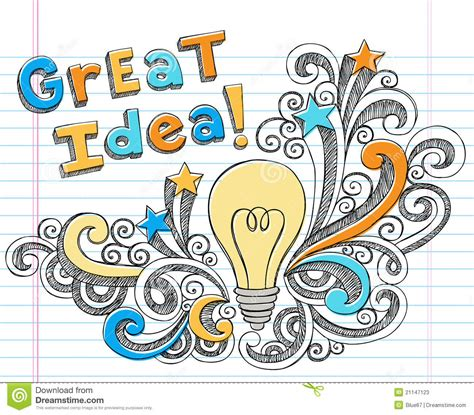 great doodle ideas light bulb idea sketchy doodles stock vector