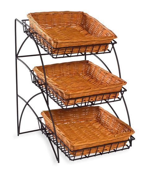 basket display rack 22 5 quot tiered wire rack countertop 3 shelves with wicker