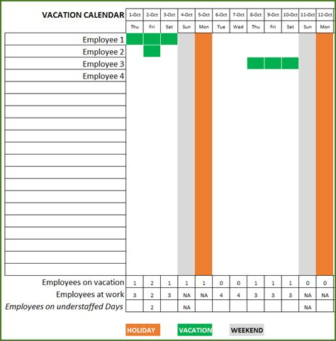 yearly vacation calendar template employee vacation planner free hr excel template for