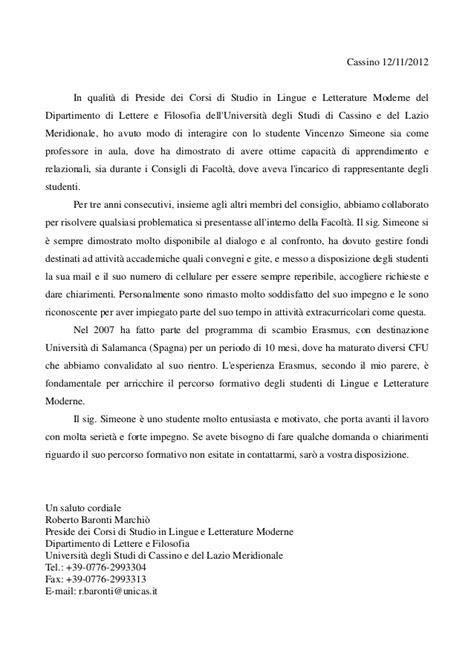 lettere di raccomandazione lettera di referenze prof baronti