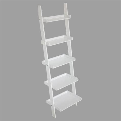 5 Tier Leaning Wall Shelf by 5 Tier Wall Rack Leaning Ladder Shelf Storage Bookshelf E1 Mdf Material White Ebay