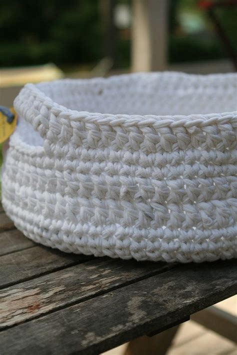 t shirt yarn cushion pattern to have and hold white crocheted basket made from t shirt