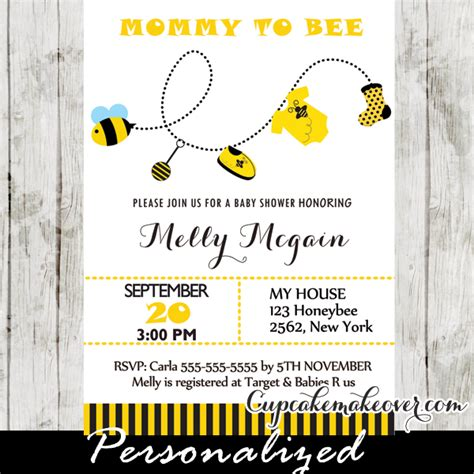 Bee Baby Shower Invitations by To Bee Baby Shower Invitation Personalized D2