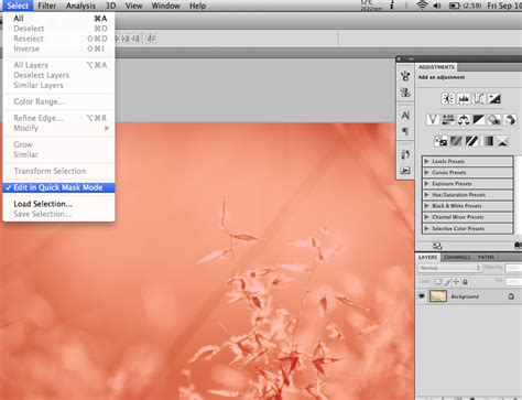 photoshop cs3 quick mask tutorial quick masking soft light leaks on photographs in photoshop
