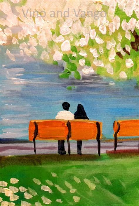 park bench painting park bench vino and vango