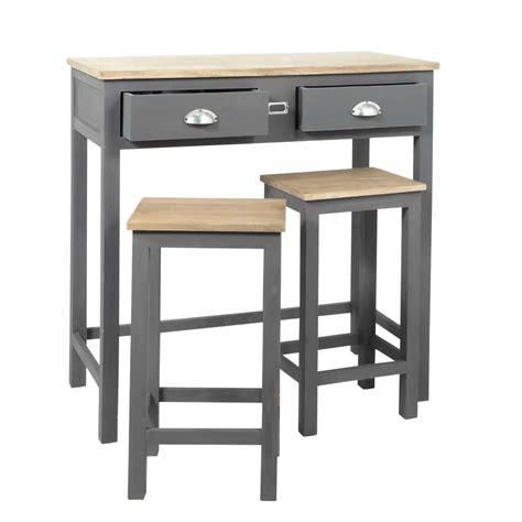Table Haute Avec Tabourets by Table Haute Avec 2 Tabourets En Ch 234 Ne Et Pin Gris Chablis