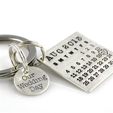 Calendar Keychain Our Wedding Day Keychain Your Calendar Keychain