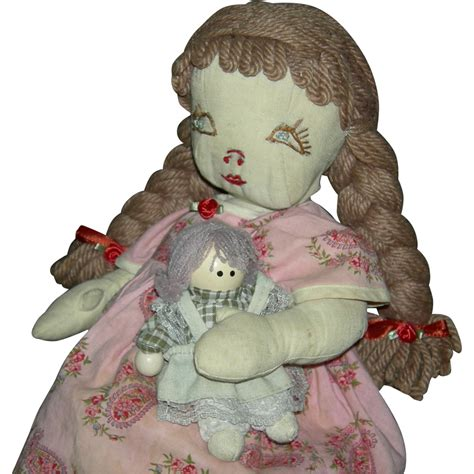rag doll with hair vintage cloth rag doll embroidered 15 quot yarn