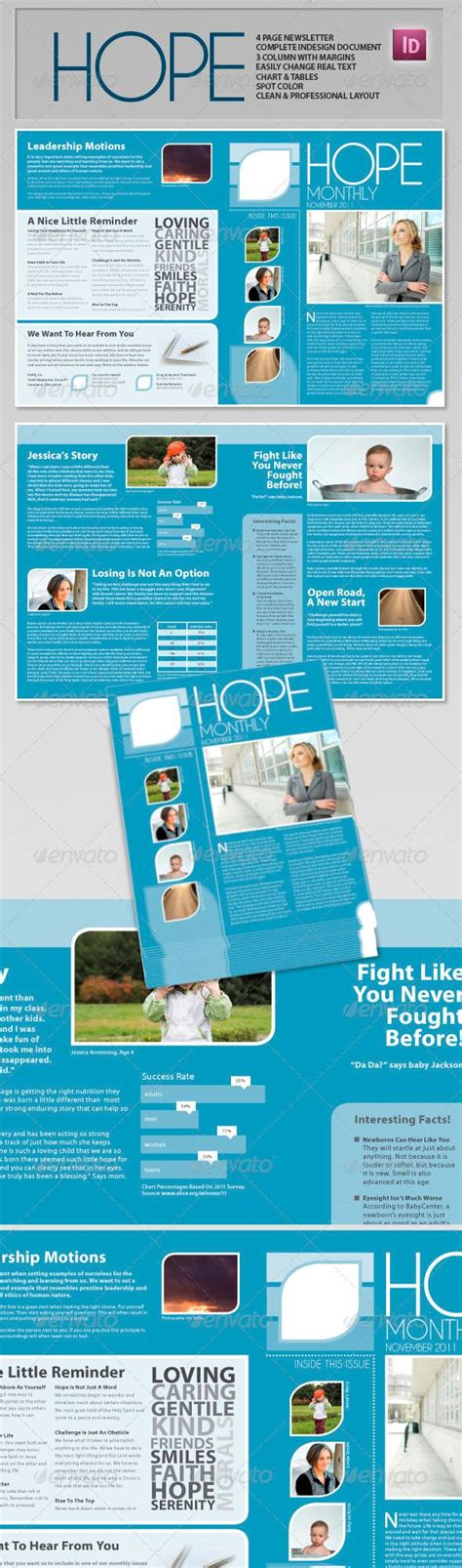 Hope Clean Professional Newsletter Newsletter Templates And Print Templates Professional Newsletter Templates