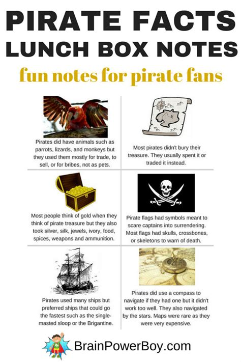 printable pirate jokes pirate facts lunch box notes brain power boy