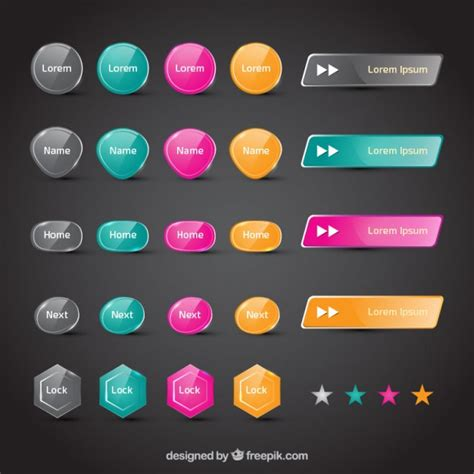 web free colorful web buttons vector free