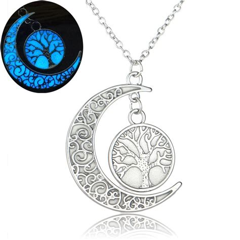 pendants for jewelry wholesale 32 35mm moon tree luminous charms pendant necklace