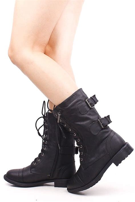 black faux leather lace up zipper buckle combat boots