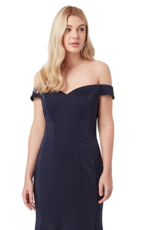Dress Stretch stretch satin bardot neckline evening gown at gown heaven