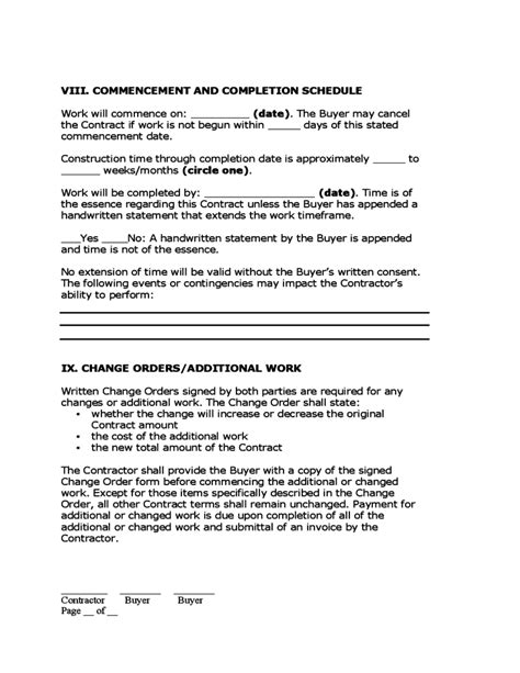 home improvement contract free