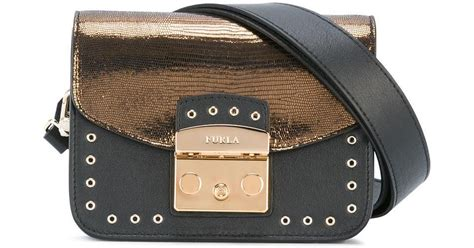 Furla Lattelier 2tone lyst furla two tone shoulder bag in black
