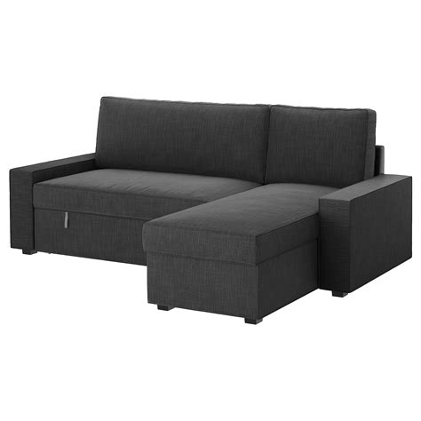 futon zum schlafen vilasund sofa bed with chaise longue hillared anthracite