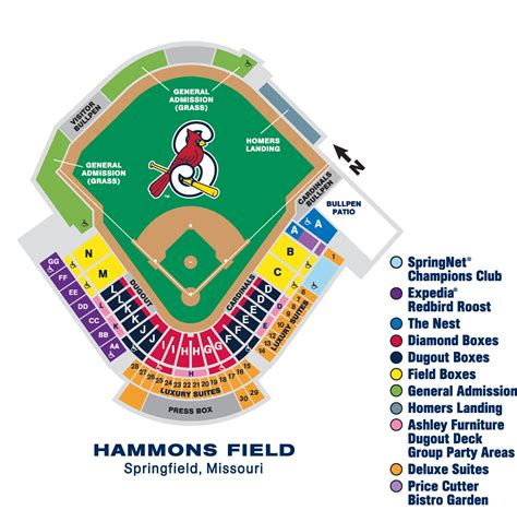 section f seating chart springfield cardinals hammons field