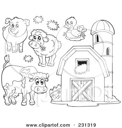 91 barn coloring pages with animals clip art of a royalty free rf clipart illustration of a digital