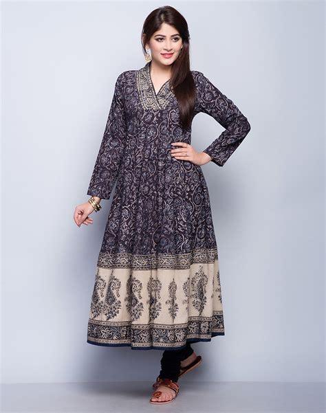 Buy Fabindia Indigo Cotton Cambric Kalamkari Flaired Long Kurta online   Fabindia.com