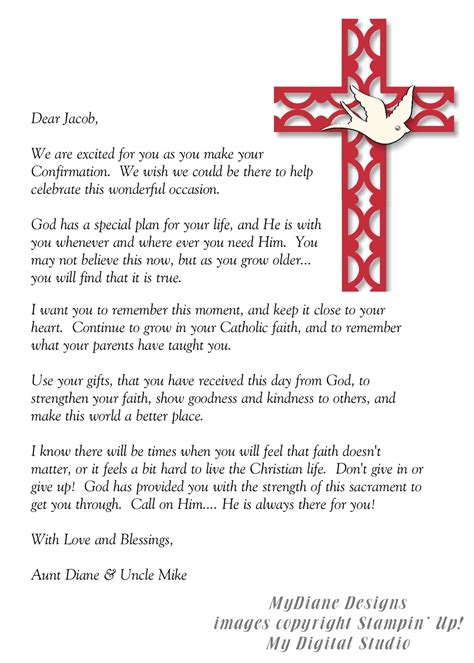 catholic confirmation letters samples