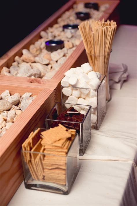sweet smores bar wedding food station ideas