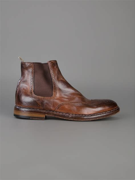 officine creative mens boots officine creative brogue chelsea boots in brown for lyst