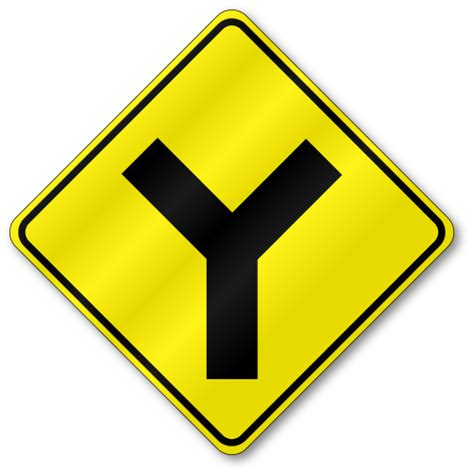 Y Intersection, W2-5 Traffic Sign, .080 Outdoor Reflective ... Y Intersection Sign