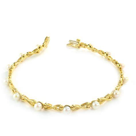 1 699 retail 14k yellow gold fresh water pearl bracelet