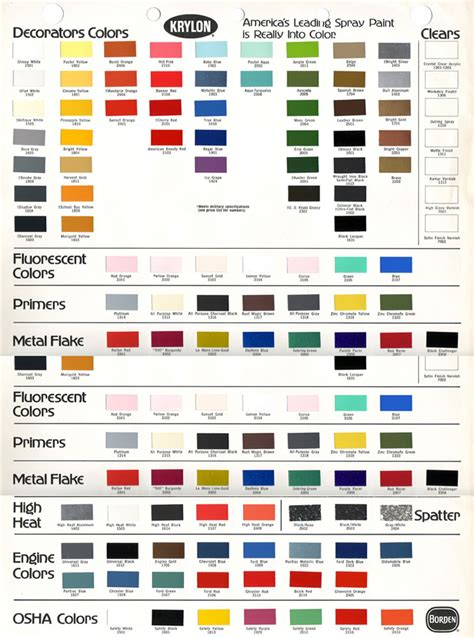 krylon fusion colors krylon color chart rustoleum spray paint color chart
