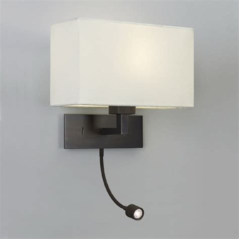Modern Bedroom Wall Reading Light Bronze Wall Light With White Fabric Shade And Led Reading