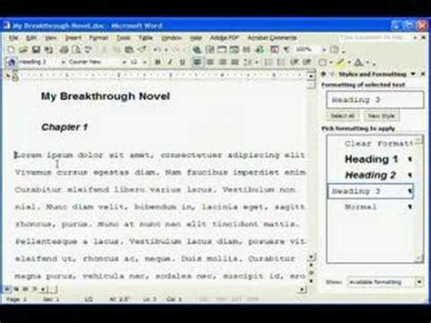 manuscript formatting in ms word youtube