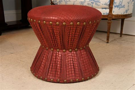 Hourglass Stool by Hourglass Stool With Embossed Leather Printed Cotton