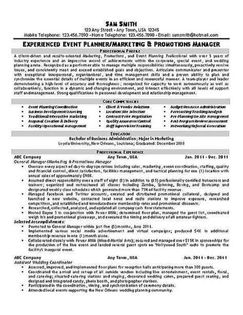 Wedding Planner Resume by Event Planner Resume Exle Planners Resume And Events