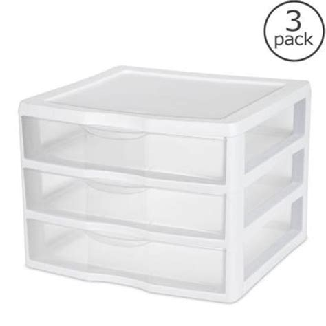 sterilite clearview 10 6 in x 14 5 in 3 drawer organizer