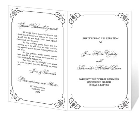 free printable wedding program templates word best photos of downloadable program templates wedding